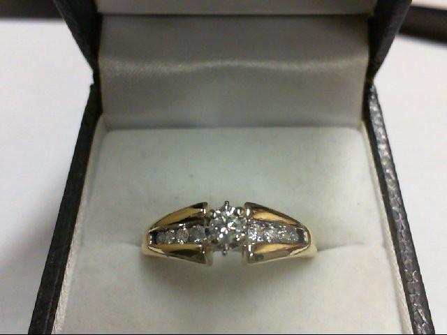 Lady's Diamond Engagement Ring 9 Diamonds 0.28 Carat T.W. 14K Yellow Gold 4.1g