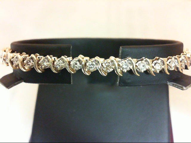 Gold-Diamond Bracelet 40 Diamonds 2.4 Carat T.W. 14K Yellow Gold 13.5g