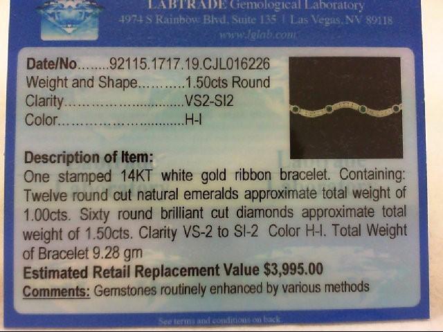 Emerald Gold-Diamond & Stone Bracelet 60 Diamonds 1.50Carat T.W.