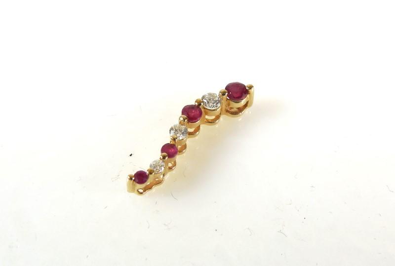 Red Stone Gold-Diamond & Stone Pendant 3 Diamonds .10 Carat T.W.
