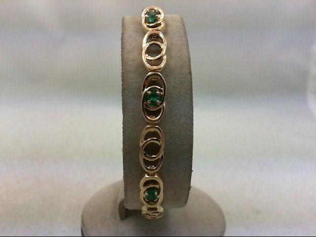 Emerald Gold-Stone Bracelet 14K Yellow Gold 11.2g