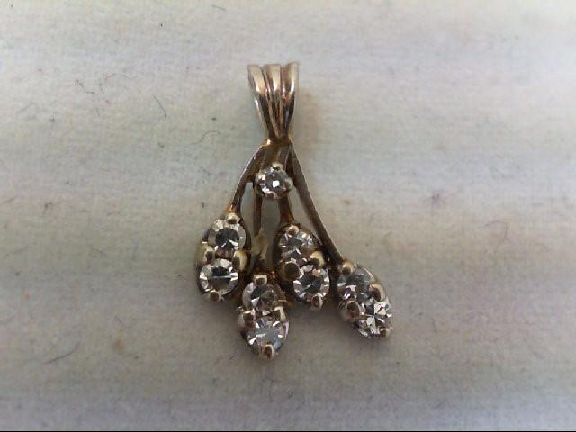 Gold-Multi-Diamond Pendant 9 Diamonds .09 Carat T.W. 10K White Gold 1.4g