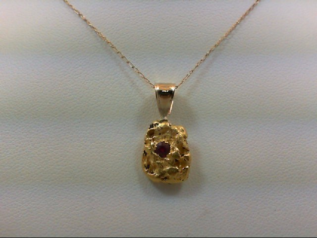 Ruby Gold-Stone Pendant 24K Yellow Gold 3.9g