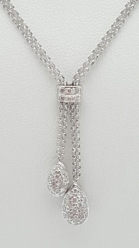 Diamond Necklace 37 Diamonds .54 Carat T.W. 18K White Gold 5.2g