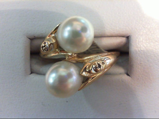 Pearl Lady's Stone Ring 14K Yellow Gold 4.7g