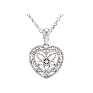 "18"" Diamond Necklace .006 CT. 925 Silver 1.12g"