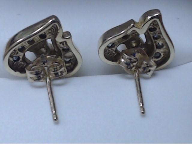 Gold-Diamond Earrings 14 Diamonds 0.26 Carat T.W. 14K Yellow Gold 2.7g