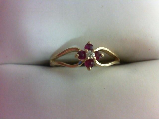 Ruby Lady's Stone & Diamond Ring 0.02 CT. 14K Yellow Gold 1.6g