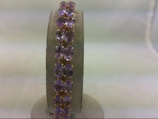 Amethyst Gold-Stone Bracelet 14K Yellow Gold 11.4g