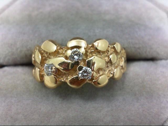 Gent's Gold-Diamond Wedding Band 3 Diamonds 0.24 Carat T.W. 14K Yellow Gold 5.2g