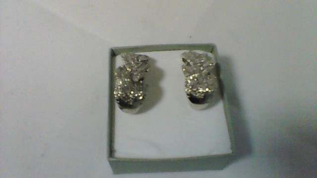Silver-Diamond Earrings 64 Diamonds .64 Carat T.W. 925 Silver 10.21g