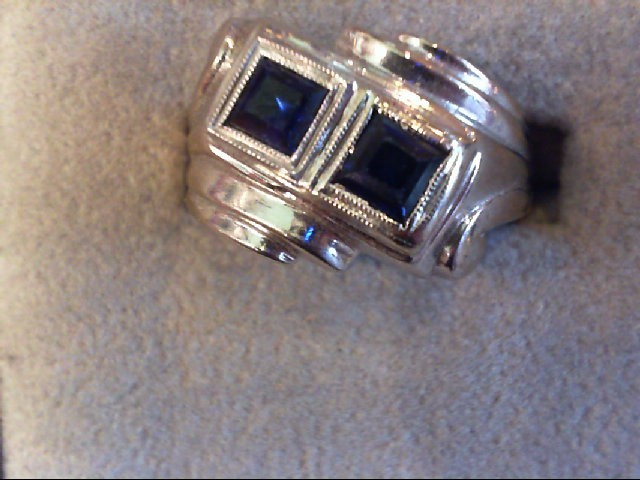 Synthetic Sapphire Gent's Stone Ring 14K White Gold 7.3g