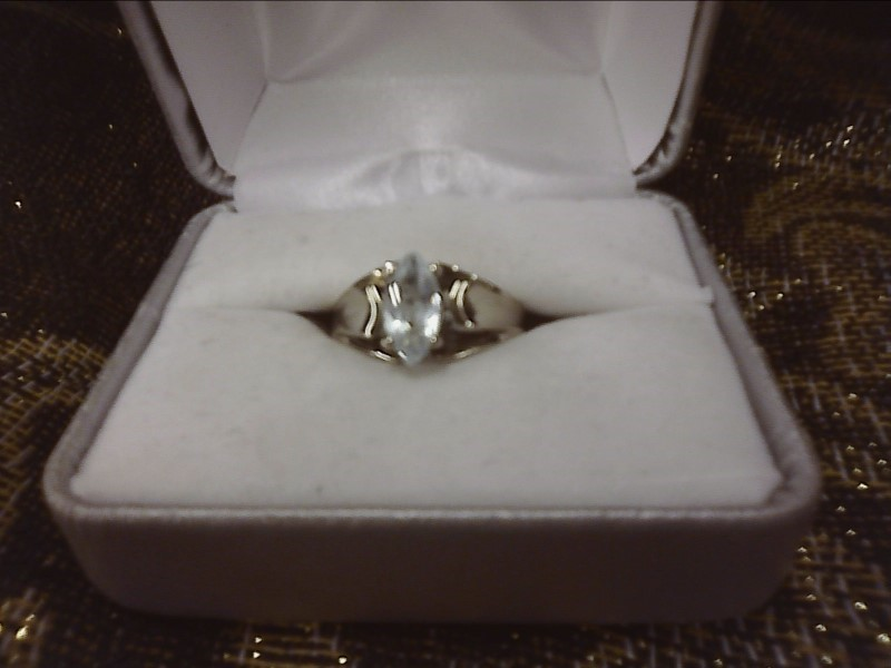 STERLING SILVER RING W/ MARQUIS AQUAMARINE SIZE: 8