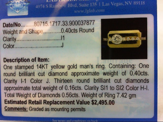 Gent's Gold-Diamond Wedding Band 14 Diamonds .53 Carat T.W. 14K Yellow Gold