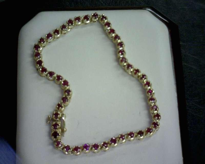 Ruby Gold-Stone Bracelet 14K Yellow Gold 7dwt