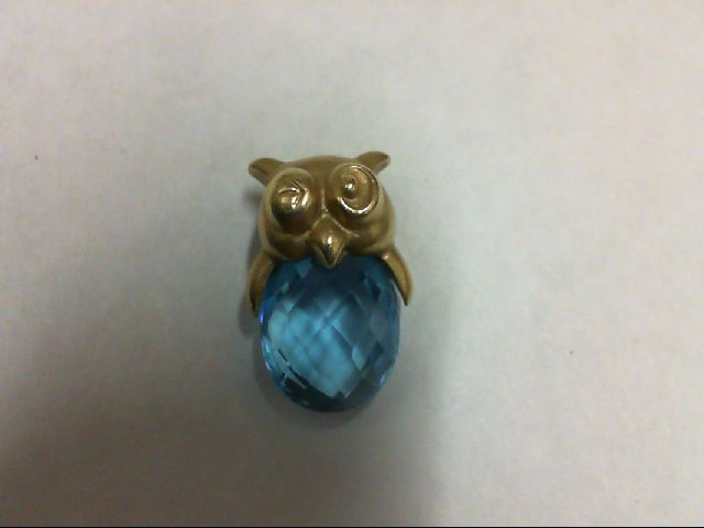 Blue Topaz Gold-Stone Pendant 14K Yellow Gold 2g