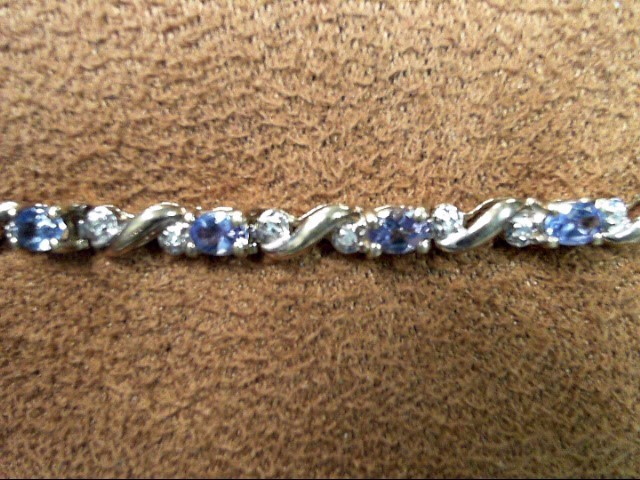 Blue Stone Gold-Diamond & Stone Bracelet 28 Diamonds .28 Carat T.W.