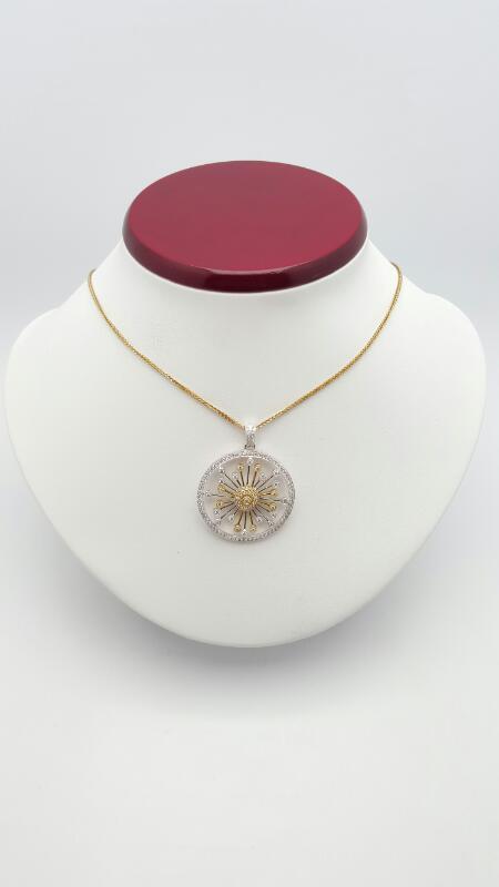 Gold-Multi-Diamond Pendant 94 Diamonds .94 Carat T.W. 14K 2 Tone Gold 5.5g