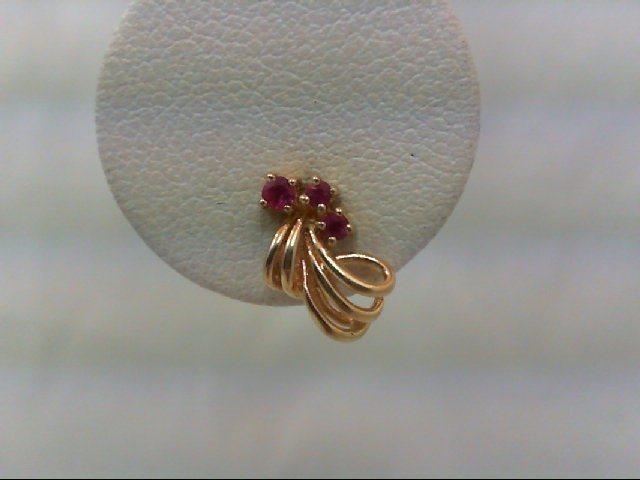 Ruby Gold-Stone Earrings 14K Yellow Gold 1.2g