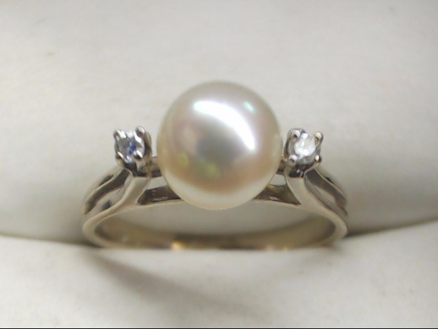 Synthetic Pearl Lady's Stone Ring 14K White Gold 2.1g Size:5