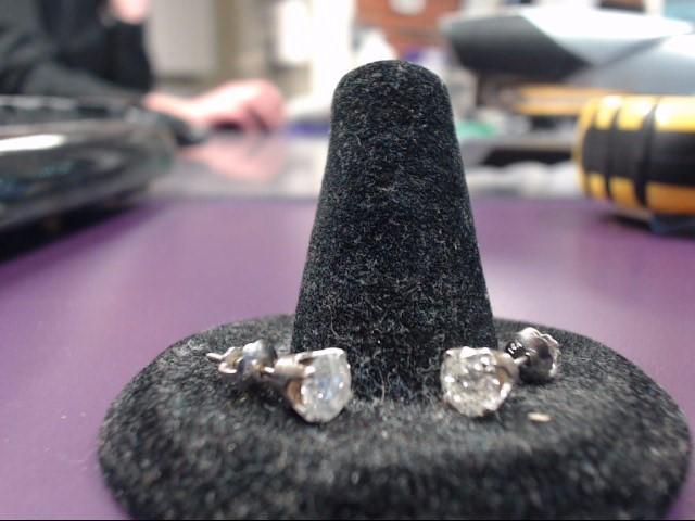 Gold-Diamond Earrings 2 Diamonds 1.00 Carat T.W. 10K White Gold 1.02g