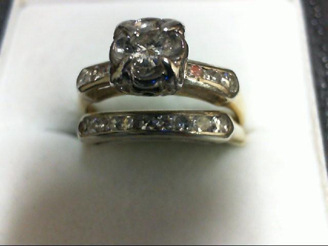 Lady's Diamond Wedding Set 15 Diamonds 0.34 Carat T.W. 14K Yellow Gold 3.2g