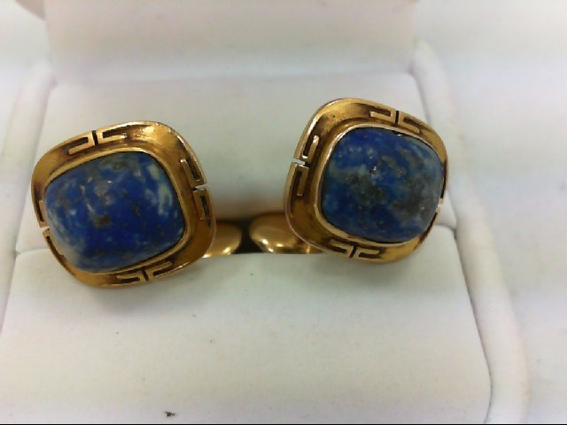 Gold & Lapis Cuff Links 14K Yellow Gold 7.9g