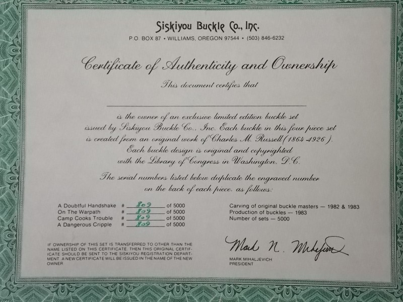 SISKIYOU CHARLEY CHARLES CM RUSSELL BUCKLE COLLECTION ON BOARD WITH CERTIFICATES