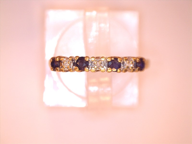 Sapphire Lady's Stone & Diamond Ring 3 Diamonds .03 Carat T.W. 10K Yellow Gold