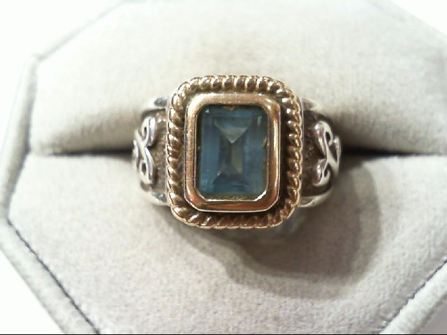 Blue Topaz Lady's Silver & Stone Ring 925 Silver 8.5g