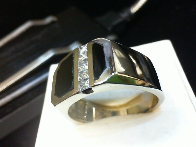 Onyx Gent's Stone & Diamond Ring 5 Diamonds 0.5 Carat T.W. 14K White Gold 14.56g