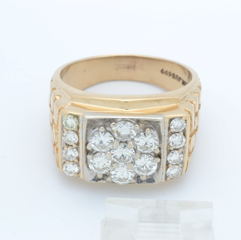 MENS DIAMOND RING SOLID 10K GOLD CLUSTER STATEMENT BLING SIZE 12.75