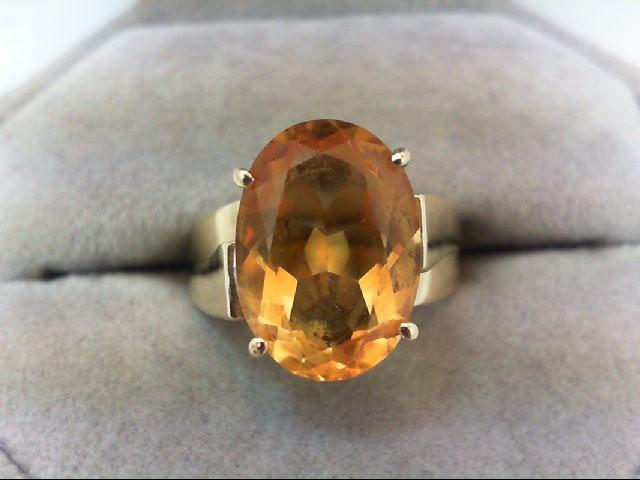 Citrine Lady's Stone Ring 14K Yellow Gold 4.9g