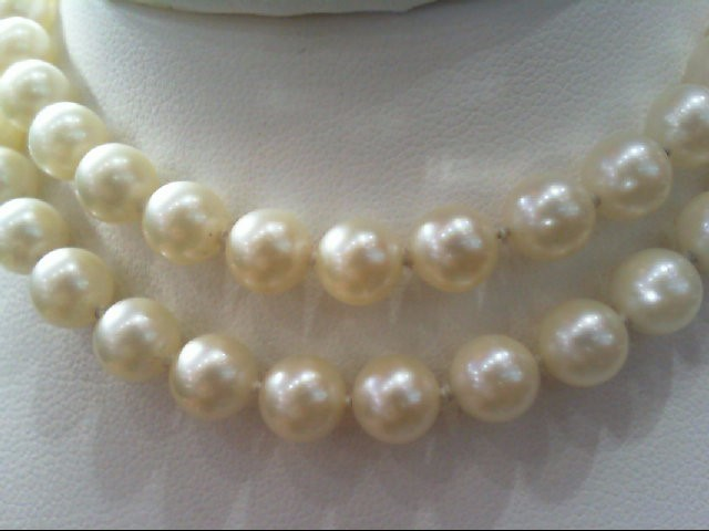 "18"" Pearl Strand Stone Necklace 14K Yellow Gold 20.1g"