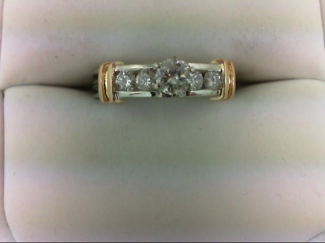 Lady's Diamond Engagement Ring 5 Diamonds 0.48 Carat T.W. 14K 2 Tone Gold 3.5g S