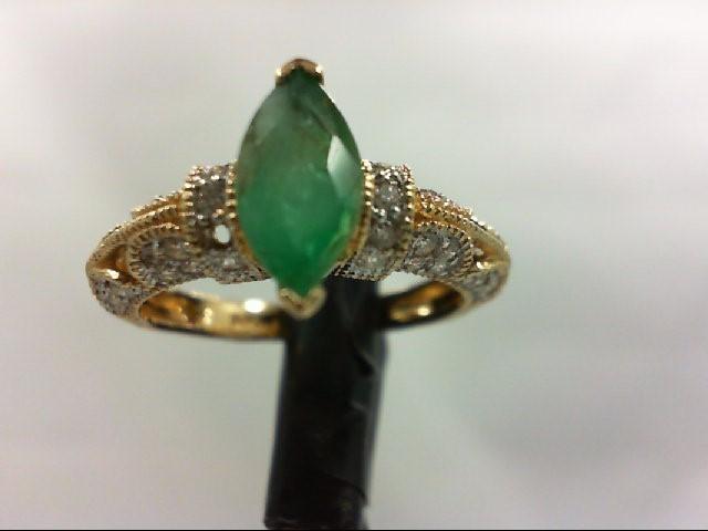 Emerald Lady's Stone & Diamond Ring 34 Diamonds 0.68 Carat T.W. 14K Yellow Gold
