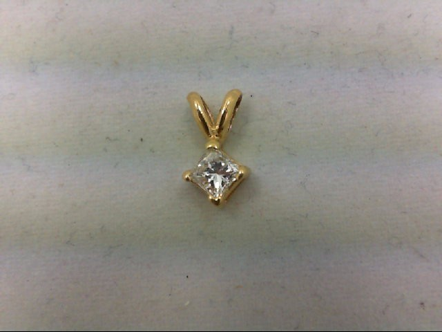 Gold-Diamond Solitaire Pendant 0.25 CT. 18K Yellow Gold 0.5g