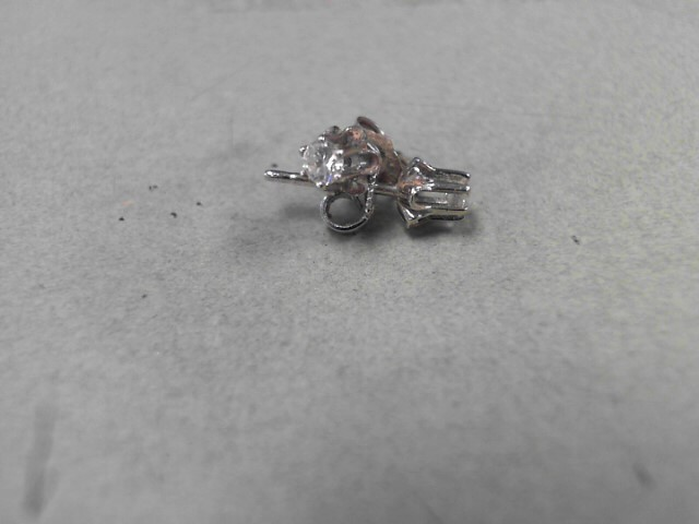 Gold-Diamond Earrings 2 Diamonds .24 Carat T.W. 14K White Gold 1.1g