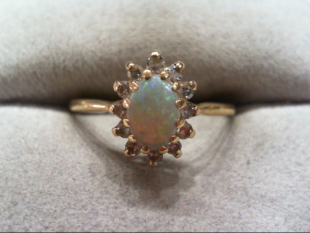 Opal Lady's Stone & Diamond Ring 12 Diamonds .36 Carat T.W. 14K Yellow Gold