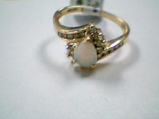 Synthetic Opal Lady's Stone & Diamond Ring 19 Diamonds .38 Carat T.W.
