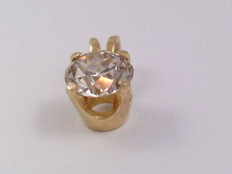 Estate Fine Diamond Solitaire Pendant Cham 0.50 CTW 14K Yellow Gold