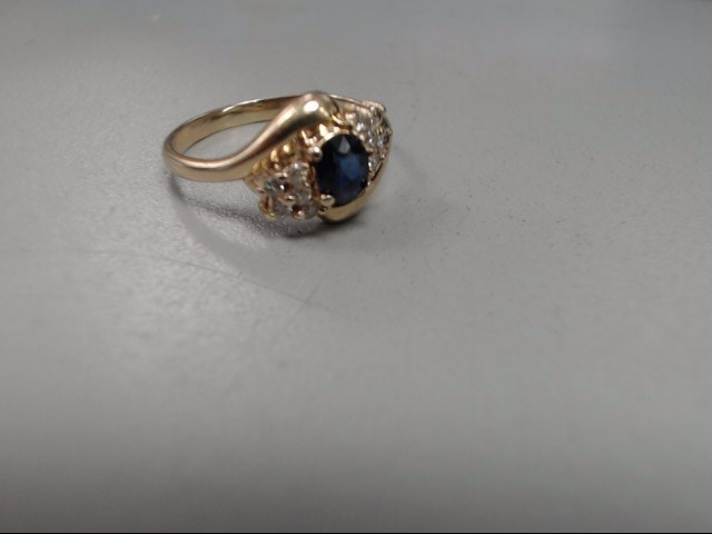 Blue Stone Lady's Stone & Diamond Ring 10 Diamonds .20 Carat T.W.