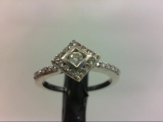Lady's Diamond Engagement Ring 13 Diamonds 0.22 Carat T.W. 14K White Gold 2.4g