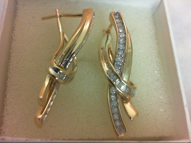 Gold-Diamond Earrings 52 Diamonds 1.04 Carat T.W. 10K Yellow Gold 4.6g