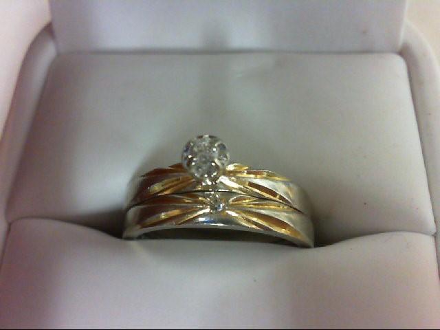 Lady's Diamond Wedding Set 2 Diamonds 0.06 Carat T.W. 14K 2 Tone Gold 5.4g Size: