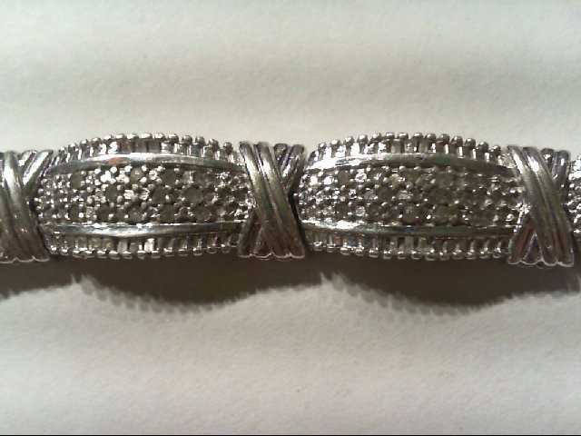 Silver-Diamond Bracelet 190 Diamonds .950 Carat T.W. 925 Silver 22.2g