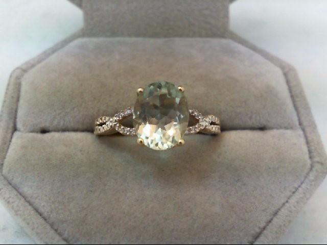 Peridot Lady's Stone & Diamond Ring 12 Diamonds .12 Carat T.W. 10K Yellow Gold