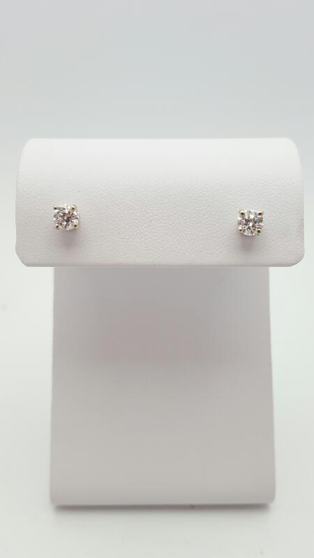Gold-Diamond Earrings 2 Diamonds .68 Carat T.W. 14K White Gold 0.8g