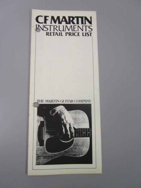 1985 C. F. MARTIN INSTRUMENTS RETAIL PRICE LIST, EFFECTIVE JULY 1, 1985