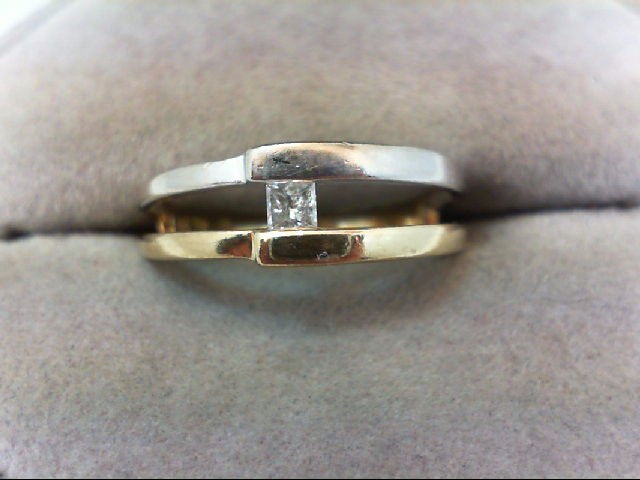 Lady's Diamond Solitaire Ring .12 CT. 10K 2 Tone Gold 2.5g